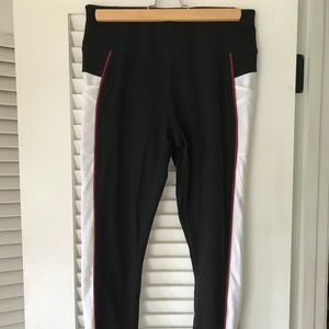 black workout/yoga pants with side stripes